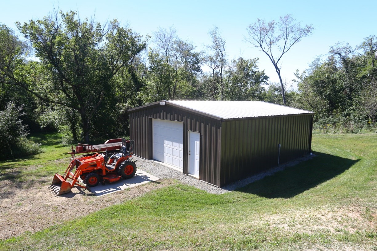 garage with tractor